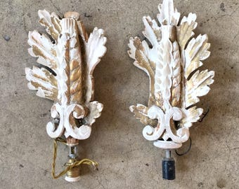 French Shabbychic Sconces, Gilt-Wood, Pair, Ca: 1920s.