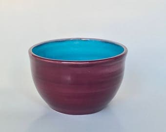 Plum Blue Ceramic Bowl