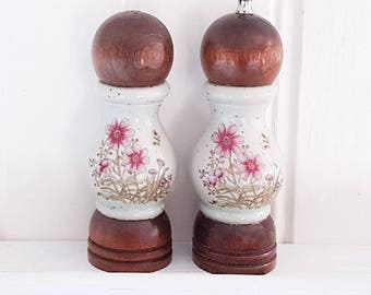 Vintage salt and pepper shakers, ceramic and wood shakers