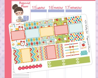 Fits SMC inserts -- Time for School Planner Stickers -- #09