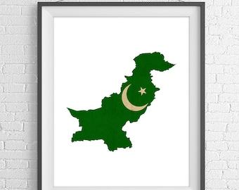 Pakistan Flag Map Print, Pakistan Map, Pakistan Silhouette Art, Vintage Flag Poster, Wall Art, Map of Pakistan, Geography Gift, Pakistani