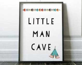 Nursery Wall Art, Little Man Cave, Prints, Wall Art Print, Boys Nursery Print, Boys Room Print, Nursery Print, Nursery Art, Man Cave, Art
