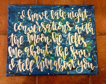 Hand lettered sign, canvas sign, moon sign, moon art, conversations with the moon, handlettered, modern calligraphy