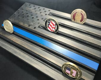 State Trooper Wood Flag Thin Blue Line - Black Blue Line Coin Rack - Police Coin Display - Customizable - Personalized