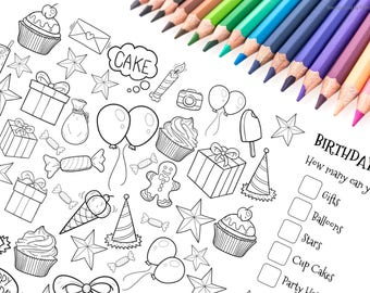 Birthday Party Colouring Page - Party Activity Page - Instant Download - Kids Party Game - Party Invitation - Birthday Party Favours