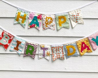 Colorful floral HAPPY BIRTHDAY fabric banner eclectic