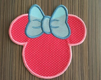 Large Pink and Blue Minnie Mouse Iron on Applique Patch