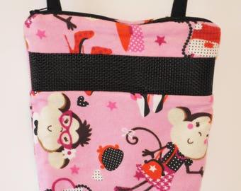 Sugar Glider Bonding Pouch, baby hedgehog bonding bag, small exotic nesting supplies, zipper bag, snuggle sack, Pink Shopping Monkey Flannel