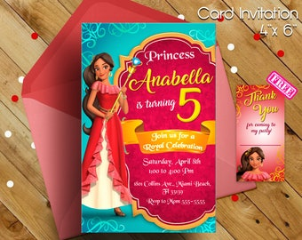 Elena of avalor invitation, Elena of avalor, Elena of avalor party, Elena of avalor birthday, free thank you cards, gift, princess party