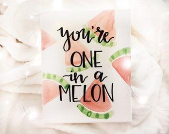 You're one in a melon, sorority canvas, big little week, watermelon, delta gamma alpha phi kappa delta sigma chi omega kappa alpha theta