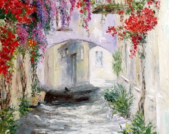 Flower Streets Painting Old Spanish Streets Painting Impasto Oil Painting Canvas Palette Knife Painting Old Italy Painting Canvas Landscape