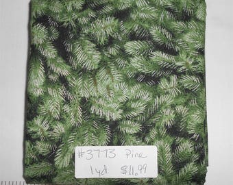 Fabric- 1 yard piece - Green Pines with metallic (see store for other coordinating fabrics and Noel Panel) (#3773) Timeless Treasures