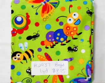 Fabric- 1yd piece- Bugs/butterfly/butterflies/dragonfly/ant/snail/colorful/green background/bees/caterpillars/ladybugs/rainbow (#2937)