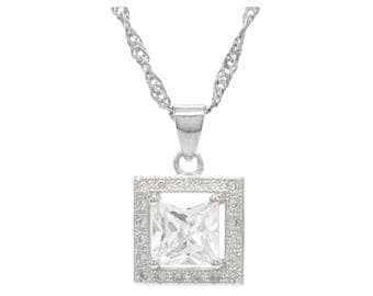 Genuine 925 sterling silver princess necklace hallmarked silver chain, square shape sparkly gem necklace, purple gift bag black jewelry box