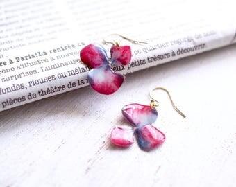 Blue-red Hydrangea 14K Gold Filled Earrings [Pierced or Clip-on]