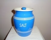 Vintage 1930s Bretby Salt Jar. TG Green Cornishware Style. Blue and White. Kitchen Storage. Kitchen Kupboard Range