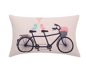 Floral bicycle lumbar pillow covers Flower basket decorative pillow case Love birds cushion cover Valentines day cushion case Home 12x20