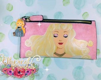 Princess Aurora sleeping beauty hand painted leather wallet hand painted small purse
