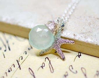 Mint Starfish Necklace, Seafoam and Sterling Silver Beach Jewelry, Aqua Chalcedony, Wire Wrap Gemstone, Star Fish Charm
