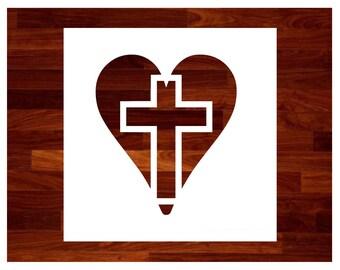 Cross in Heart Cross Custom Stencil