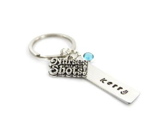 Hand Stamped Personalised Nurse Keyring with Birthstone – Gift Boxed