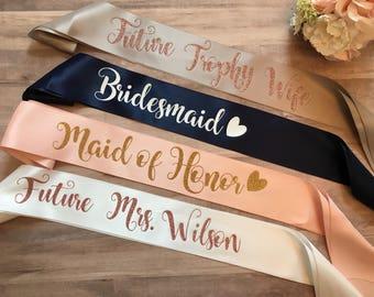Future Trophy Wife, Bachelorette Sash, Custom Bridal Sash, Bridal Sash, Satin Bride Sash, Bridesmaid Sash, Party Sash, Bachelorette party