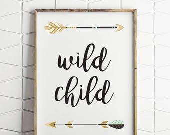 70% OFF SALE wild child printable decor, childrens room wall decor, nursery printable, wild child kids art, wilderness kids decor