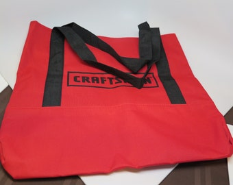 "CRAFTSMAN Tool Bag or Tote Red and Black Soft 16"" x 18"" Long Nylon Straps Large"