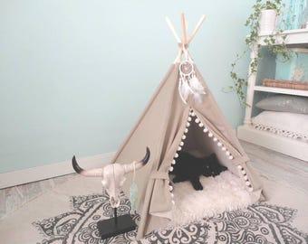 Pet teepee including fake fur pillow. Dog bed, tent, tipi, dog home, tepee, wigwam.