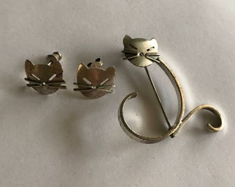 Kittycat Sterling Pin and Earrings Set