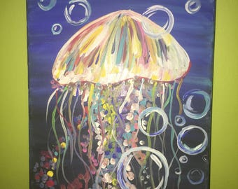 Colorful Jellyfish in the Ocean Painting