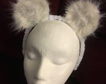 Beary-White furry bear ears