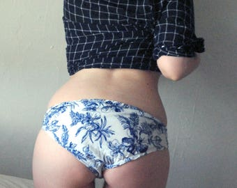 Blue and White Cotton Panties