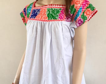 Mexican peasant blouse, top  embroidered by hand very cool, summer days