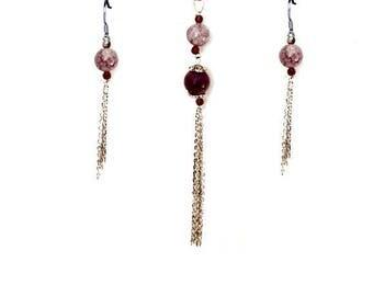 Long Purple Jasper and Magnesite Tassel Jewelry Set