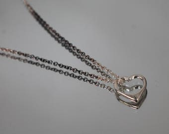 """925 - Open Cut Out Heart Pendant Rolo Link Necklace in Sterling Silver - 16"""""""