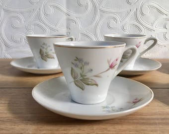 Vintage 1950s Made In Japan Set of 5 Child Tea Cups and Saucers