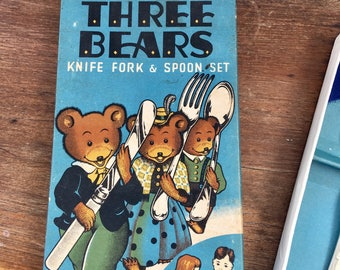 Vintage Three Bears Knife Fork and Spoon Boxed Set ~ Child Cutlery Set ~ Childs Flatware