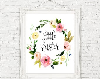 Little Sister Printable, Printable Little Sister Wreath, Little Sister Wall Decor,Sister Wall Art, New Little Sister, Sorority Little Print