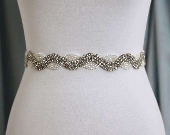 Pearl Bridal Sash - The Perfect Wedding Sash Rhinestones and Pearls