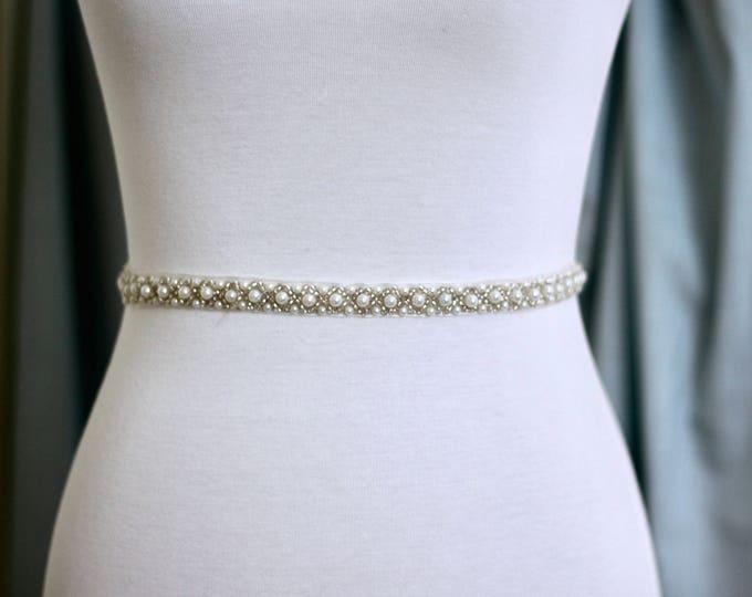 Dainty Bridal Belt pearls, Bridal Sash, Wedding Belt, Wedding Sash Pearl Sash