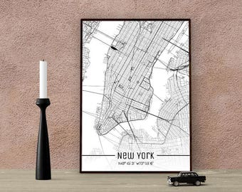 NEW YORK-Just a map-din A4/A3-Print
