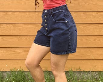 Vintage Button Down Navy Blue Shorts