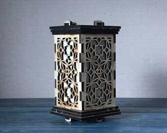Small Moroccan Lantern. Great for Weddings, Nightlight or Home decor. LED powered.