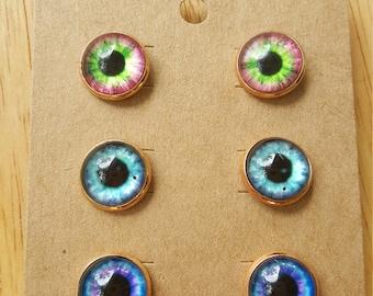 Dragon Eye Earrings, Dragon Eye Studs, Statement Earrings, Nerd Earrings, Blue Dragon Earrings, Eye Studs, Dragon Eye Studs, Steampunk Studs