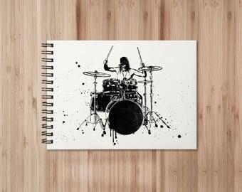 Drummer Notebook/Sketchbook Wire Bound - Blank pages