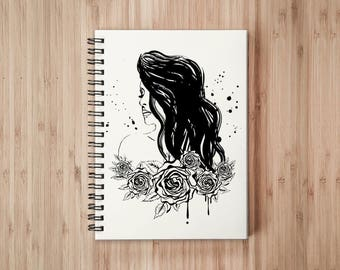 Lady Rose Notebook/Sketchbook Wire Bound - Blank pages