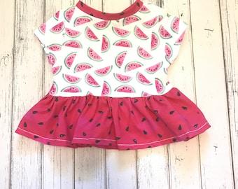 Watermelon peplum shirt, baby peplum shirt, toddler peplum shirt, peplum shirt, peplum top, watermelon shirt
