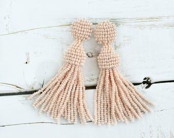 oscar de la renta earrings clip on tassel Blush tassel earrings  clip on earring  beaded tassel earrings Oscar renta earring tassel jewelry