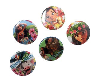 Moana Badge Set - Pin Back Buttons Disney Princess Party Favors Supplies